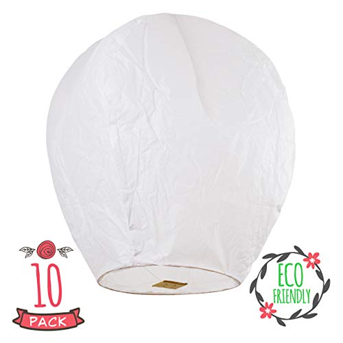 Chinese Lanterns 10-Pack White, Sky High, Fully Assembled, Biodegradable, Sky...
