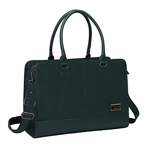 MOSISO Laptop Tote Bag (Up to 15.6 Inch), Premium PU Leather Large Capacity with 3 Layer Compartments Tote Shoulder Briefcase Handbag Compatible with MacBook Notebook, Storm Green