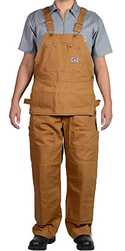 Ben Davis 862 Genuine 12 oz. Heavyweight Brown Duck Canvas Carpenter Work Overalls (Brown Duck, 40x34)