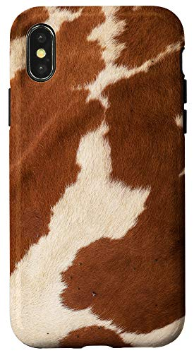 iPhone X/XS Cow Print Cowhide Skin - Cool Moo Farm Animal Lovers Gift Case