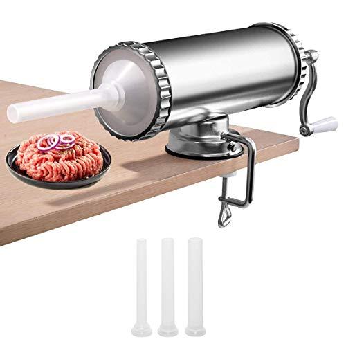 RELAX4LIFE 3 L Horizontaler Wurstfüller manuell, Wurstmaschine aus Edelstahl, inkl. 3 Füllrohre, mit Handkurbel und Tischklemme, professionelle Wurstfüllrohre für Hausgemachte, Silber