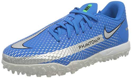 Nike JR Phantom GT Academy TF, Scarpe da Calcio, Photo Blue/Mtlc Silver-Rage Green-Black, 36.5 EU