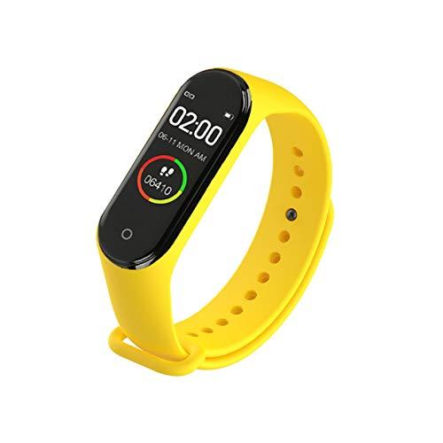 Reloj inteligente para hombre y mujer, correa de etiqueta, deportivo, presión arterial, monitor de ritmo cardíaco, monitor impermeable (color: amarillo)