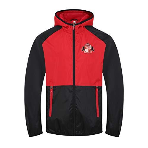 Sunderland AFC - Chaqueta Cortavientos Oficial - para Hombre - Impermeable - Estilo Retro - Negro/Rojo - XL
