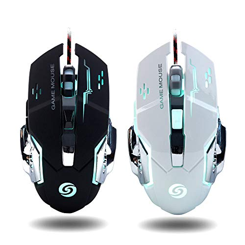 [2Pcs] Gaming Mouse Wired Ergonomic Game USB Computer Mice RGB Gamer Desktop Laptop PC Gaming Mouse,6 Buttons for Windows XP, Vista, Win7/8,10, Mac OS System