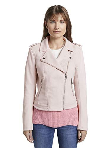 TOM TAILOR Denim Damen Jacken Bikerjacke aus Wildlederimitat Powdered pink,XS