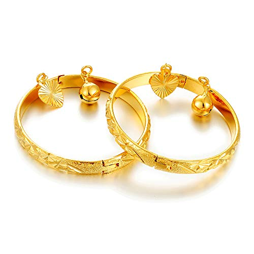 2pcs/lot Unisex Gold plated Bangle for Girls/Baby/Kids Charm Gypsophila Bracelet Bells Heart Jewelry