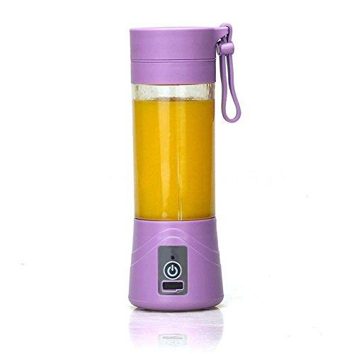 Steellwingsf 1 x tragbarer 380 ml elektrischer Saftmixer Zitruspresse Flasche Mini Entsafter Tasse (lila)