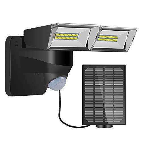 Lixada Solar-buitenlamp met bewegingsmelder, PIR-bewegingssensor, buitenwandlamp met zonne-energie, dubbelzijdige verlichting, 3 verlichtingsmodi, IP65 waterdicht, voor schuur, tuin, zwembad, terras