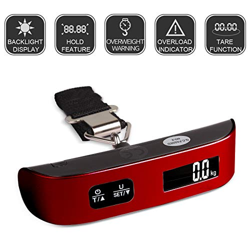 Travel Inspira 110LB Digital Luggage Scale with Overweight Alert, White Backlight LCD Display - Red