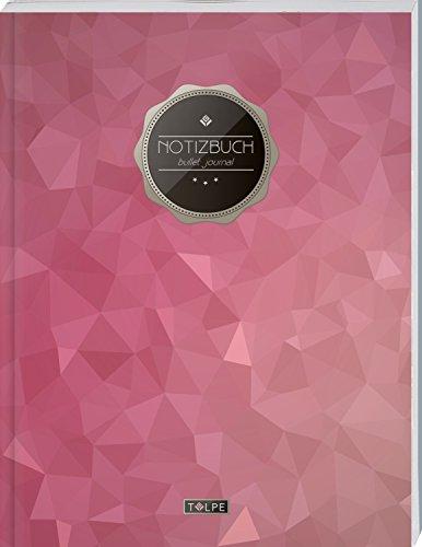 """TULPE Bullet Journal A4 """"C112 Royales Rot"""" (140+ Seiten, Vintage Softcover, Punktkariertes Papier – Punktraster Notizbuch, Handlettering, Skizzenbuch, Zeichenbuch)"""