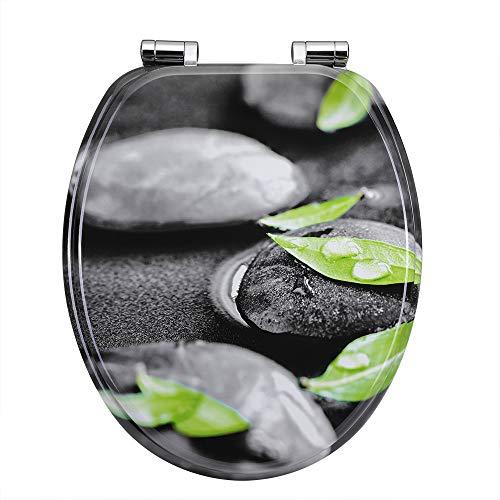 Casaria WC Sitz Toilettendeckel mit Absenkautomatik Stein Laub Toilettensitz MDF Holz rostfreie Metall Scharniere Holz Klobrille