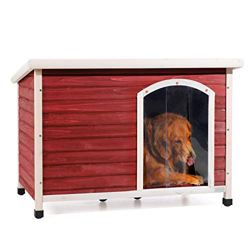 Petsfit Solid Wood Outdoor Dog House for Large Dogsup to 80 lbs