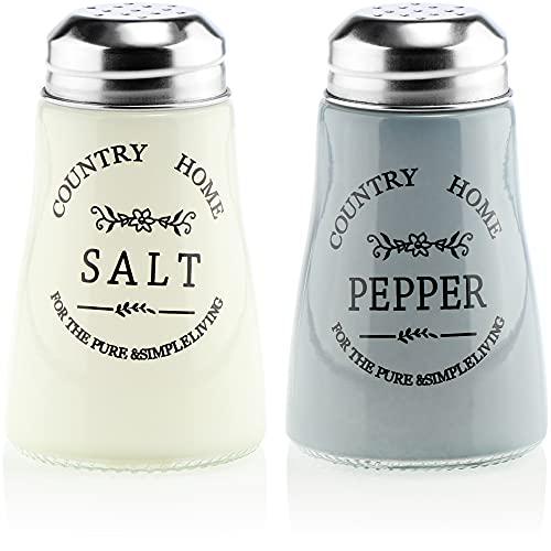 COM-FOUR® 2x glasskrydda shaker, salt shaker och peppar shaker i gammal engelsk lantlig stil, lantlig/västerländsk stil, för grovt salt & peppar (02 stycken)