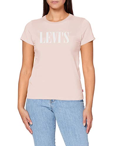 Levi's Damen The Perfect Tee T-Shirt, Serif Logo Sepia Rose, Medium