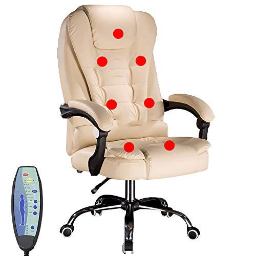 NCBH BüRostuhl Leder, BüRostuhl Massieren, Computerstühle, Executive Office Stuhl 7-Punkt-Massage Computerstuhl Liege PU-Leder Drehstuhl mit hoher Rückenlehne Höhenverstellbarer Sessel,Beige,A