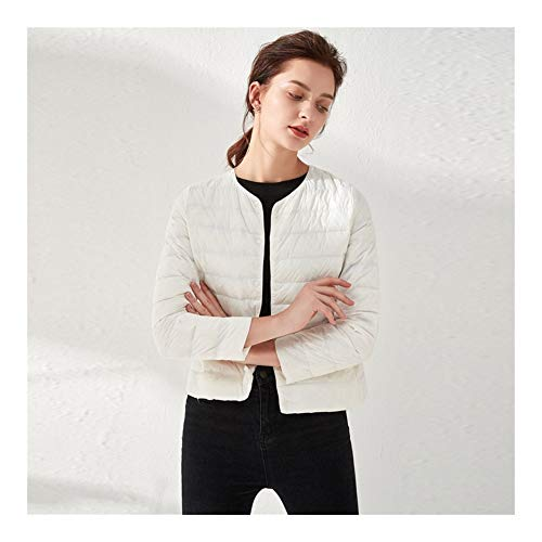 yanhuigang WINDPROOF AND WATERPROO KEEP WARMDOWN JACKET Women Ultra Light Down Jacket 90% White Duck Down Slim Coat Thin Inner Bottoming Short Garment Autumn (Color : White, Size : XL)
