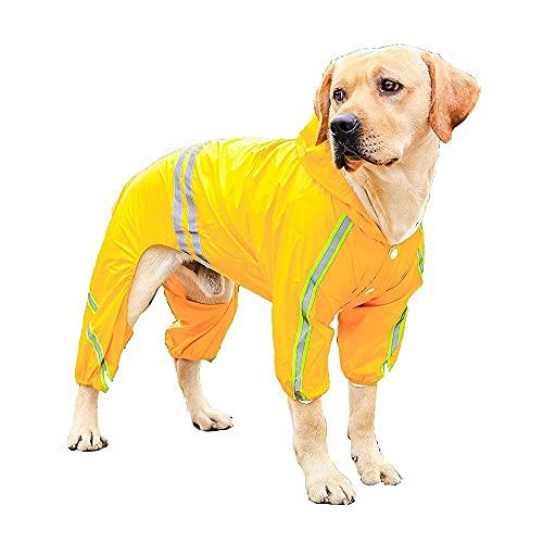 Impermeables para perros impermeables con piernas, chaqueta de lluvia con tiras y capucha reflectantes, sudadera con capucha de mono de perro con arnés agujero alto para pequeños perros grandes acceso