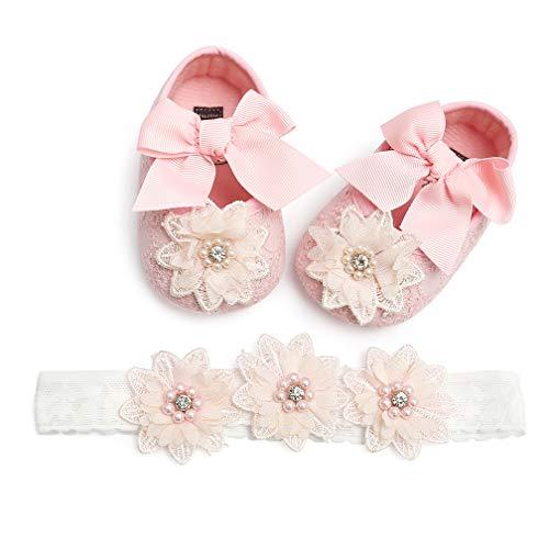 TMEOG 2 Pcs Kleinkind Schuhe+Stirnband, Baby Mädchen Blumen Schuh Anti-Rutsch-Weiche Besondere Anlässe Taufe Hochzeit Party Schuhe (0-6, Pink)