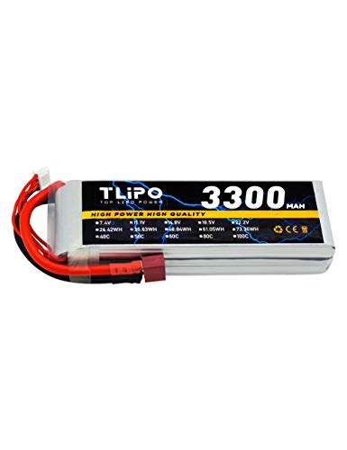 TLiPO 3300mAh 11.1V 40C 3S Lipo Battery Pack with Deans T Plug for RC Airplane RC Boat RC Car RC Truck Buggy UAV Drone FPV Glider 3D Plane