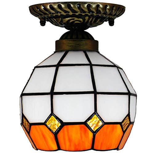 DALUXE Tiffany Lámpara de Techo Lámpara de Techo Multicolor Baroque Vidrio Estilo Cúpula Mediterránea Corredores Balcón Entrada de la Sala de Cocina Orange E27 Ø16 * H18CM 6 Pulgada