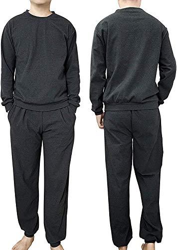 Temmix パジャマ メンズ 綿100 二重 ガーゼ ルームウェア 外着用可能 カジュアルウェアー 長袖 スウェット 上下セット 男性用 吸汗 通気 肌に優しい 部屋着 春 夏 秋 冬用 (XL, 黒+グレー)