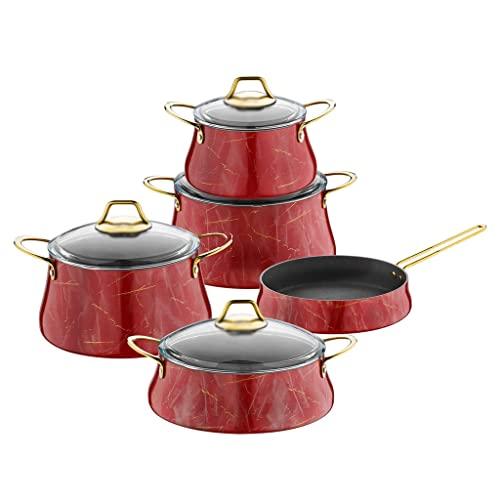 ZLDGYG Juegos de Utensilios de Cocina antiadherentes, cazuela, ollas y sartenes de mármol Rojo 9 Piezas