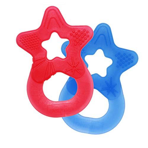 Dentistar® Baby Beißstern - 2er Set Beißring - Zahnungshilfe und Greifling - extra weich und flexibel - BPA frei - ab 3 Monaten - Made in Germany - rot + blau