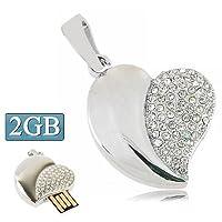 多機能はさまざまなニーズを満たします。 シルバーハートバレンタインデーのギフト(2GB)、持ち運びしやすいのための特別なダイヤモンドジュエリーUSBフラッシュディスクを、形。 (色 : Silver)