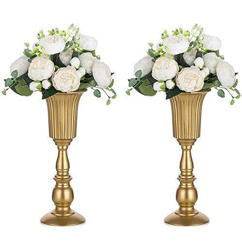 Nuptio 2 Pezzi Vaso per Tromba in Metallo Fiorito, Elegante Vaso da Centrotavola per la Decorazione della Festa Nuziale, Composizione Floreale Artificiale Alta 31.9cm per Cerimonia di Anniversario