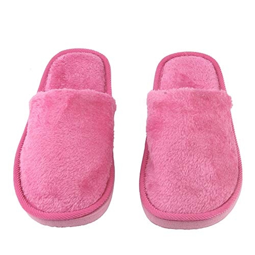 WOIA Felpa Interior Hogar Mujeres Hombres Zapatos Antideslizantes Suaves Calientes Zapatillas Silenciosas de Algodón, Rosa Roja, 38-39