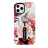 """Case for iPhone 12/12 Pro Girls,Hosgor Finger Grip Flowers Design Rugged Shockproof Slim Soft TPU + Matte PC Dual Layer Finger Ring Strap Cover for iPhone 12/12 Pro 5G- 6.1"""" 2020 (Peony)"""
