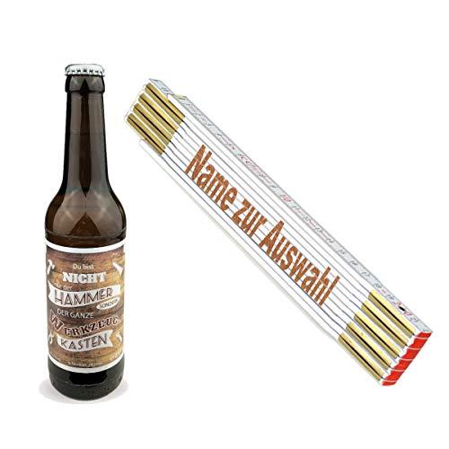 Geschenkset/Zollstock mit Namens-Gravur und Handwerker-Bier/Echte Kerle/Männergeschenk/Handwerker/Vatertag/Geburtstag, Zollstöcke Namen:Falko
