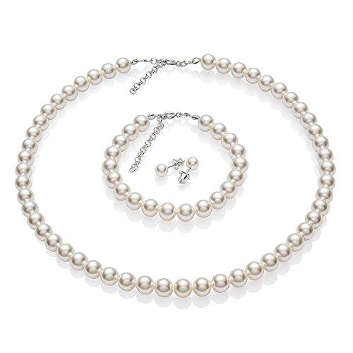 LillyMarie Damen Schmuck set Swarovski Elements Perlen Weiss Längen-verstellbar Geschenkverpackung Brautschmuck