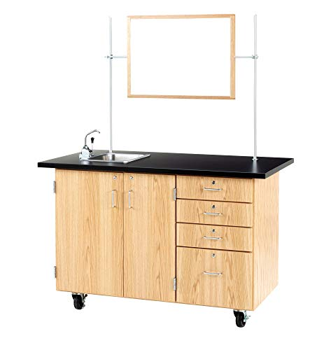 Diversified Woodcrafts 4342K Solid Oak Wood Extra Large Mobile Demonstration Center with Sink and Fixtures, ChemGuard Top, 54