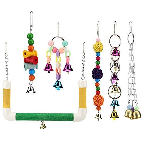 idalinya Patio de Juegos para pájaros de Metal y Madera, 6 Piezas/Juego, Juguetes para Masticar Loros, Coloridos Juguetes para Loros, para periquitos guacamayos