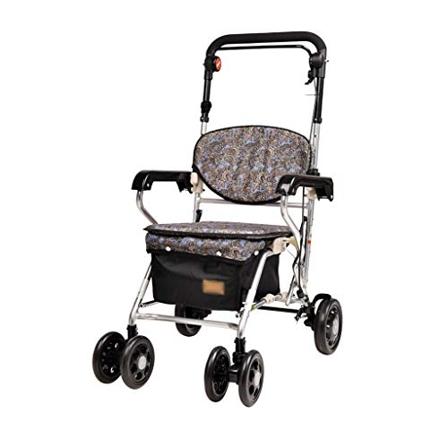 CHenXy Ältere Walker, Aluminium Folding Tragbarer Behinderte Gehen Assistent Warenkorb Warenkorb, Hinterrad-Durchmesser 17cm medizinische Walker (Color : A)