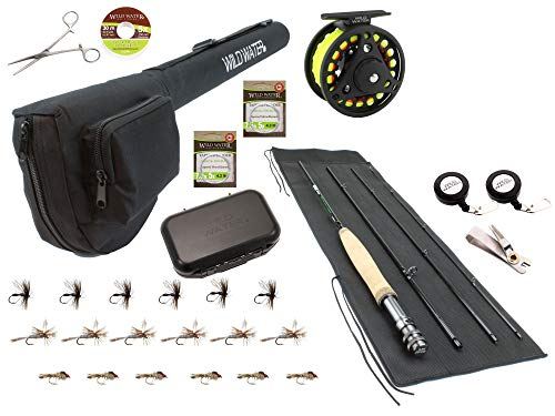 Wild Water Fly Fishing 7 Foot, 4-Piece, 3/4 Weight Fly Rod Deluxe...