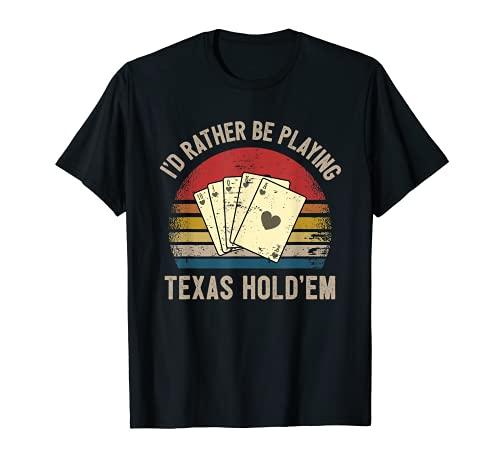 Retro Jugador Póquer Texas Hold'em Escalera Real Corazones Camiseta