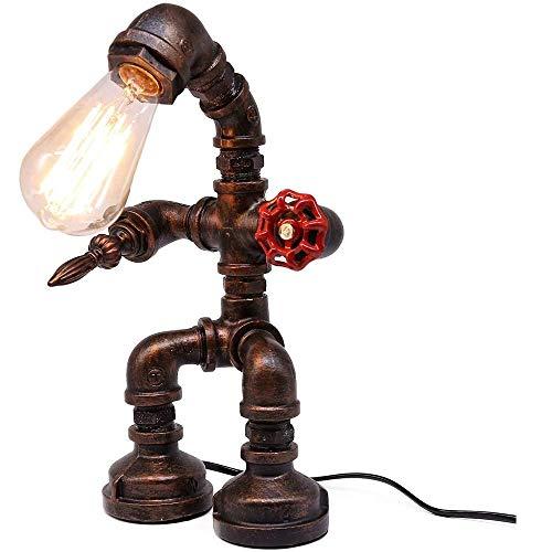 E27 hierro creativo Robot de la lámpara de mesa - retro LED lámpara ahorro de energía - Caño de agua Steampunk Luz bar café Luz Agua Pipe