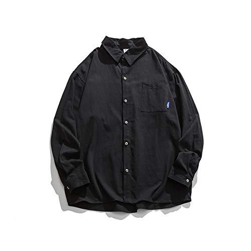 Chemise Homme Simple Coton Basique Coupe Ample Respirante Toutes Les Saisons Chemise à Manches Longues décontractée Classique Entretien Facile Medium