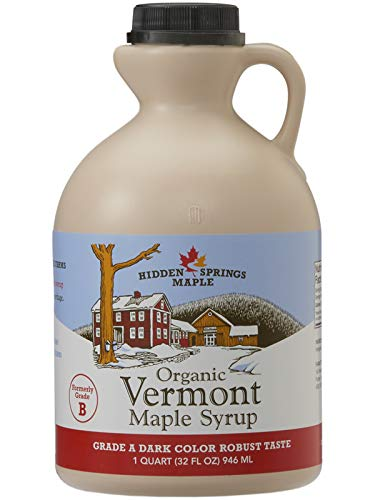 Hidden Springs Organic Vermont Maple Syrup, Grade A Dark Robust (Formerly Grade B), 32 Ounce, 1 Quart, Family Farms, BPA-free Jug