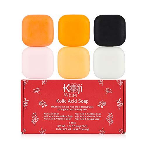 Koji White Kojic Acid Skin Brighten & Glowing Soap - Bath Women Gift Box Set 6 Bars - Papaya, Glutathione, Vitamin C, Collagen, Charcoal for Dark Sport, Hydrating, Cleansing Facial & Body 2.8 Oz each