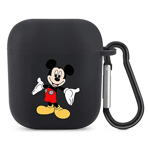 Happy-Mickey Mouse AirPods Silicone Protective Cover (with Buckle) Protective Cover for AirPods 1/2 Generation Bluetooth Headset, The Best Gift for Men and Women