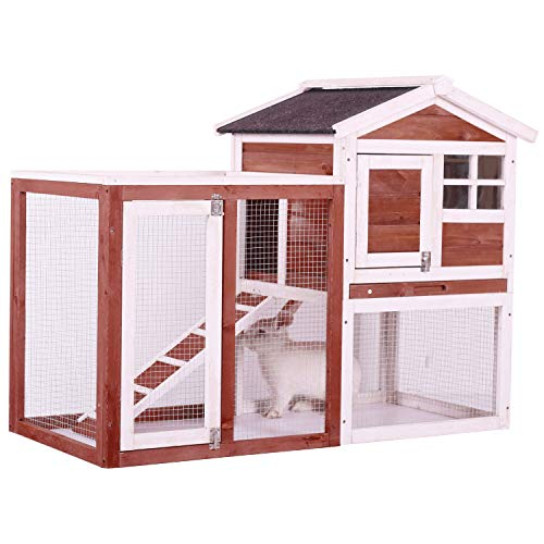 Chicken Coop Wooden Hen House Rabbit Hutch Outdoor and Indoor Wire Fence Poultry Cage with Removable Bottom Wire Mesh & PVC Layer,UV Panel