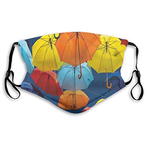 Face Cover,Paraplu's Kleuren The Sky Traditionele Portugal Feestelijke Europese Cultuur Afbeelding, Mond Cover Vervangbaar Wasbaar Anti-stof Gezicht Cover-Verstelbaar, Volwassen Grootte: M