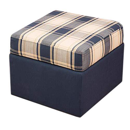 Américain Chaussures Banc En Bois Tissu Carré Siège De Stockage Canapé Repos Salon Balcon Couloir 3 Couleurs 50 cm * 50 cm * 42 cm (Couleur : Bleu)