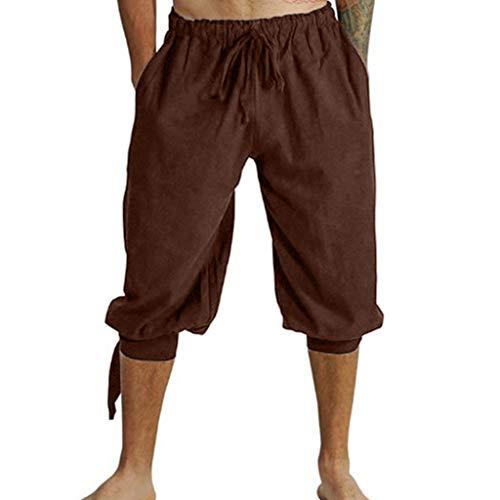 Herren Mittelalterhose Wikinger Kostüm Lose Knielang Freizeit Kurze Hose Einfarbig Strand Sporthose Übergröße GreatestPAK,Braun,EU:XS(Tag:M)