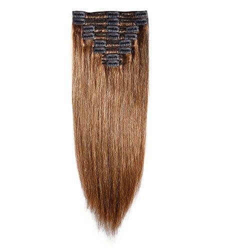 Épaisseur double trame 160 g 55,9 cm Clip en Extensions de cheveux humains 100% Remy 8 pièces 18 clips long souple droite # 6 marron clair pour femme Beauté