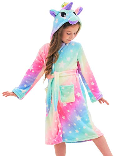 Soft Unicorn Hooded Bathrobe for Girls (Rainbow Star V2, 6-7 Years)